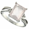 3.24ctw Rose Quartz Ring in Sterling Silver