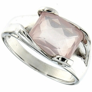3.26ctw Rose Quartz Ring in Sterling Silver