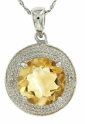 "3.28ctw Citrine and Diamond Pendant in Sterling Silver with 18"" Chain"