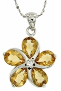 "3.29ctw Citrine Pendant in Sterling Silver with 18"" Chain"