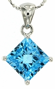 "3.35ctw Swiss Blue Topaz Pendant in Sterling Silver with 18"" Chain"
