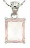 "3.39ctw Rose Quartz Pendant in Sterling Silver with 18""Chain"