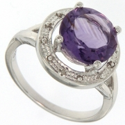 3.41ctw Amethyst and Diamond Ring in Sterling Silver