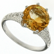 3.41ctw Citrine and Diamond Ring in Sterling Silver
