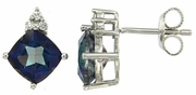 3.67ctw Mystic Blueish with CZ Earrings in Sterling Silver