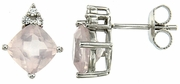 3.67ctw Rose Quartz with CZ Earrings in Sterling Silver