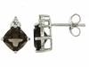 3.67ctw Smokey Quartz with CZ Earrings in Sterling Silver
