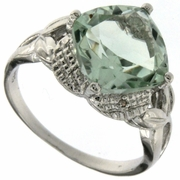 3.81ctw Green Amethyst and Diamond Ring in Sterling Silver
