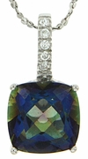 "3.84ctw Mystic Iolite Blue Pendant in Sterling Silver with 18"" Chain"