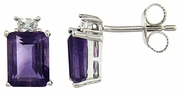 3.89ctw Amethyst with CZ Earrings in Sterling Silver