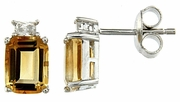 3.89ctw Citrine with CZ Earrings in Sterling Silver