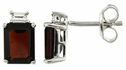 3.89ctw Garnet Earrings in Sterling Silver