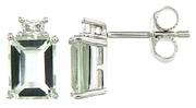 3.89ctw Green Amethyst with CZ Earrings in Sterling Silver