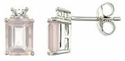 3.89ctw Rose Quartz with CZ Earrings in Sterling Silver