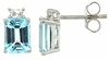 3.89ctw Sky Topaz with CZ Earrings in Sterling Silver