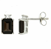 3.89ctw Smokey Quartz with CZ Earrings in Sterling Silver