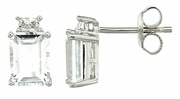 3.89ctw White Topaz with CZ Earrings in Sterling Silver
