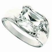 3.93ctw White Topaz and Diamond Ring in Sterling Silver