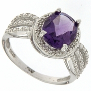 2.29ctw Amethyst and Diamond Ring in Sterling Silver