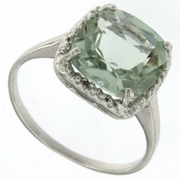 4.00ctw Green Amethyst and Diamond Ring in Sterling Silver