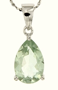 "4.00ctw Green Amethyst Pendant in Sterling Silver with 18"" Chain"