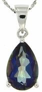 "4.00ctw Mystic Blueish Pendant in Sterling Silver with 18"" Chain"