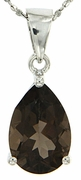 "4.00ctw Smokey Quartz Pendant in Sterling Silver with 18"" Chain"