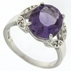 4.07ctw Amethyst and Diamond Ring in Sterling Silver