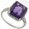 8.01ctw Amethyst and Diamonnd Ring in Sterling Silver