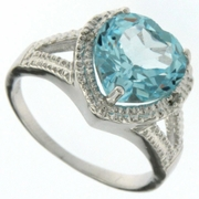 "4.16ctw Sky Topaz and ""Diamond Ring in Sterling Silver"