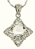 "4.26ctw White Topaz Pendant in Sterling Silver with 18""Chain"