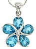 "4.35ctw Swiss Blue Topaz Pendant in Sterling Silver with 18"" Chain"