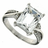 4.39ctw White Topaz and Diamond Ring in Sterling Silver
