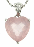 "4.50ctw Rose Quartz Pendant in Sterling Silver with 18""Chain"