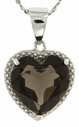 "4.73ctw Smokey Quartz Pendant in Sterling Silver with 18"" Chain"