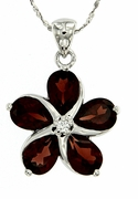 "4.74ctw Garnet Pendant in Sterling Silver with 18"" Chain"