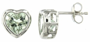 4.74ctw Green Amethyst Earrings in Sterling Silver