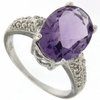 4.85ctw Amethyst and Diamond Ring in Sterling Silver
