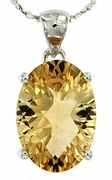 "4.95ctw Citrine Pendant in Sterling Silver with 18"" Chain"