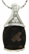 """5.04ctw Smokey Quartz Pendant in Sterling Silver with 18"""" Chain"""