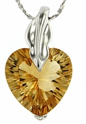 """5.10ctw Citrine Pendant in Sterling Silver with 18"""" Chain"""