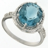 5.60ctw Blue Topaz and Diamond Ring in Sterling Silver