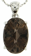 "5.64ctw Smokey Quartz Pendant in Sterling Silver with 18""Chain"