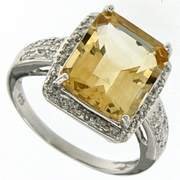 5.77ctw Citrine and Diamond Ring in Sterling Silver
