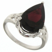 5.88ctw Garnet and Diamond Ring in Sterling Silver