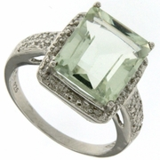 6.05ctw Green Amethyst and Diamond Ring in  Sterling Silver