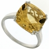 6.33ctw Citrine and Diamond Ring in Sterling Silver