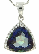 "6.34ctw Mystic Blueish Pendant in Sterling Silver with 18"" Chain"
