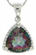 "6.34ctw Mystic Pendant in Sterling Silver with 18"" Chain"