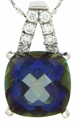 "6.89ctw Mystic Iolite Blue Pendant in Sterling Silver with 18"" Chain"